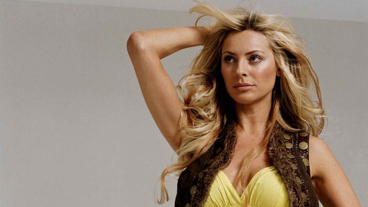 Tess Daly In Yellow Top N Brown Jacket Photoshoot