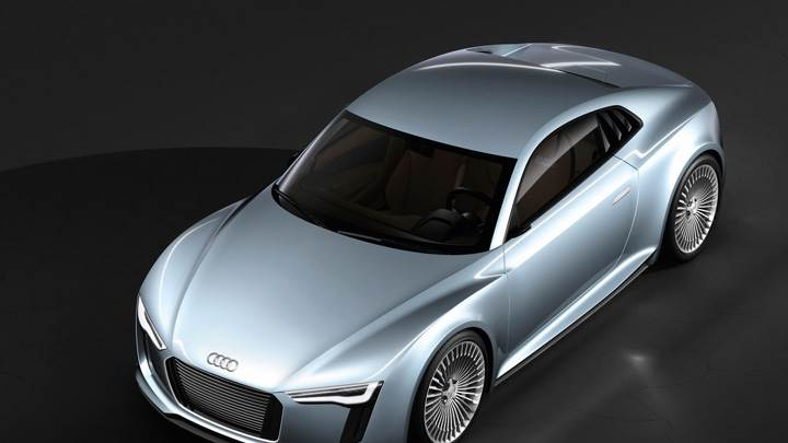 Top View Of 2010 Audi e-tron Detroit Show Car In Bllue