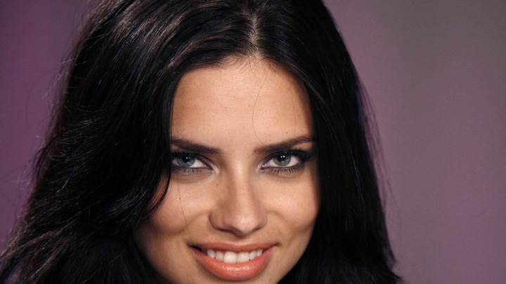 Adriana Lima Smiling Red Lips Face Closeup