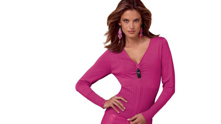 Alessandra Ambrosio In Pink Dress N White Background Modeling Pose