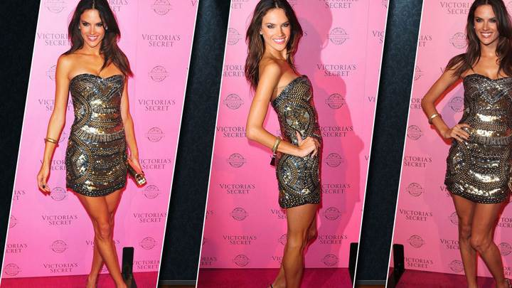 Alessandra Ambrosio Smiling Three Different Modeling Pose At Victoria Secret