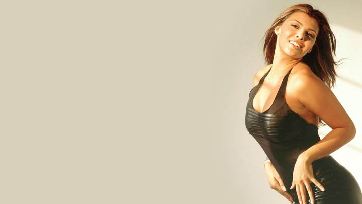 Ali Landry Smiling Naughty Pose In Black Dress Side Pose