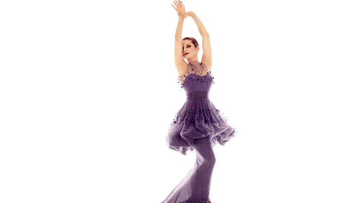 Beautiful Pose Of Sandra Bullock In Purple Dress N White Background