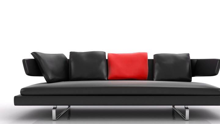Black Sofa And White Background