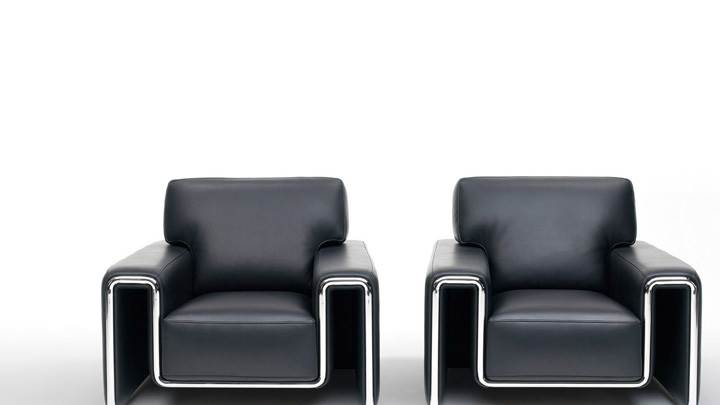 Black Two Sofa And White Background