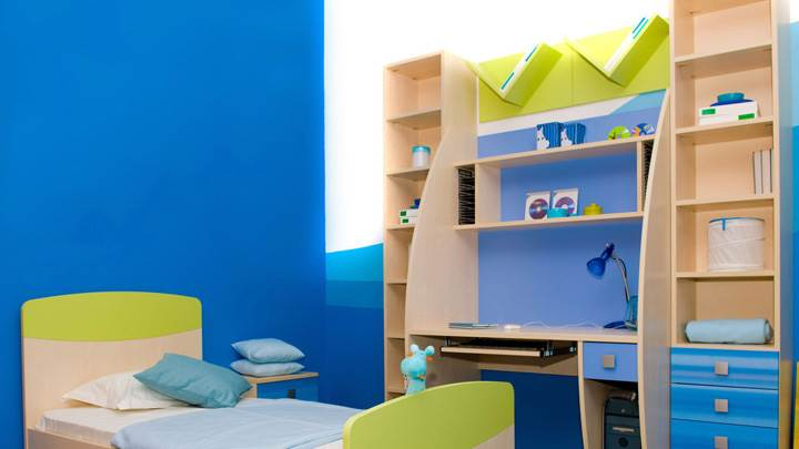 Blue Background in Kids Study Room And Bedroom