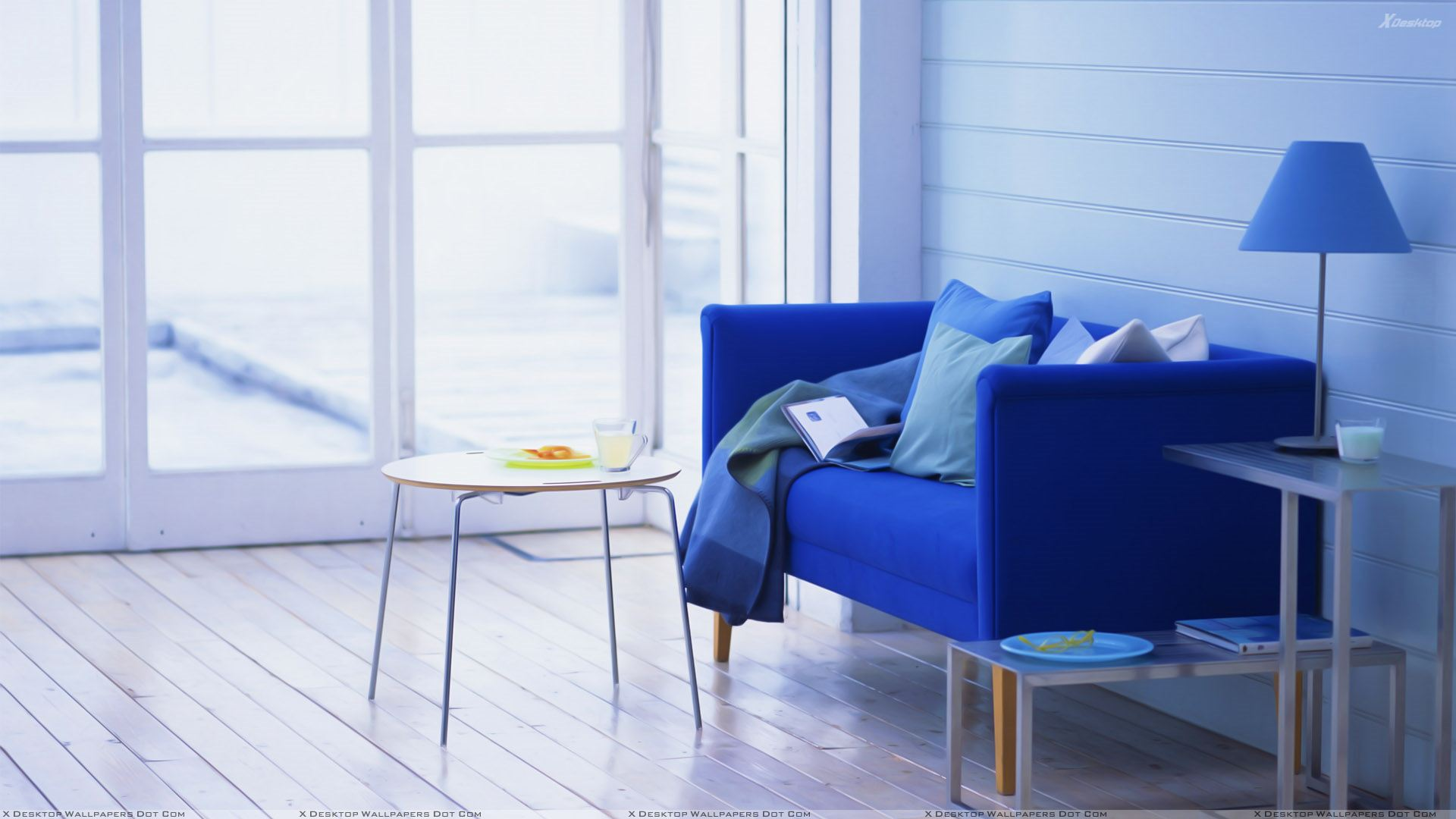 Blue Sofa And Table in Study Room