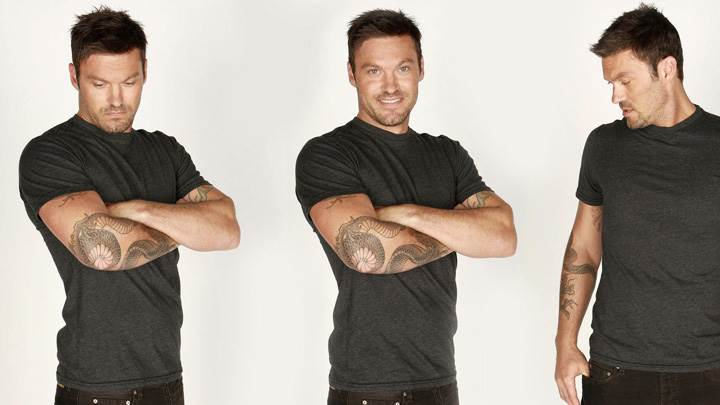 Brian Austin Green Tatoos on Hands Three Different Pose Photoshoot