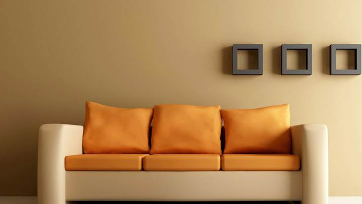 Brown Background And Orange Double Shade Sofa