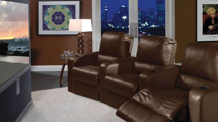 Brown Sofa Set In Home Theater Room