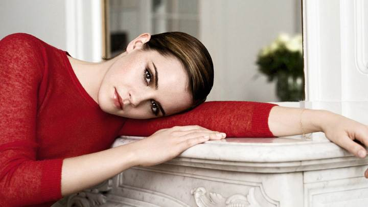 Emma Watson Looking Front In Red Woolen Top N Red Lips