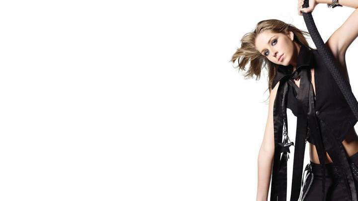 Esmee Denters In Black Dress N White Background