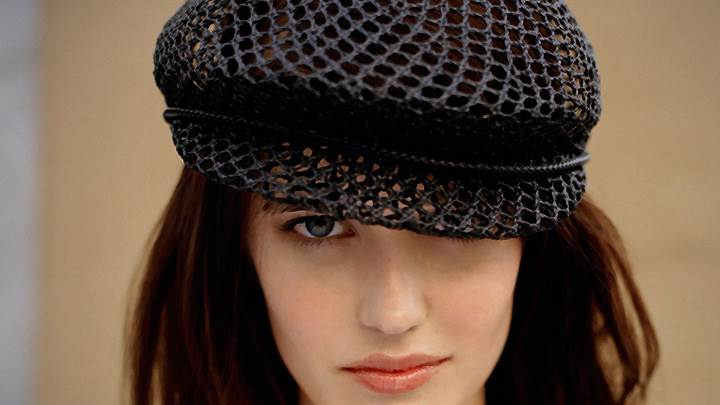 Eva Green Red Lips Wearing Net Cap Looking At Camera