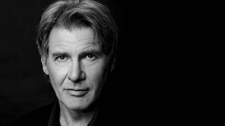 Harrison Ford Looking Front Black N White Face Closeup