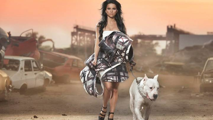 Inna Looking At Camera In Black N White Dress With Dog Photoshoot