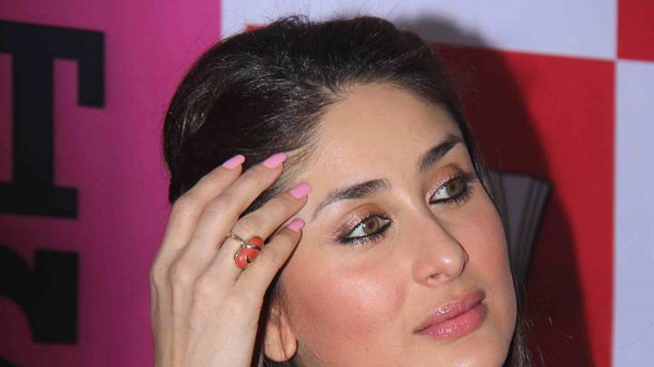 Kareena Kapoor Looking Side Glossy Pink Lips Face Closeup