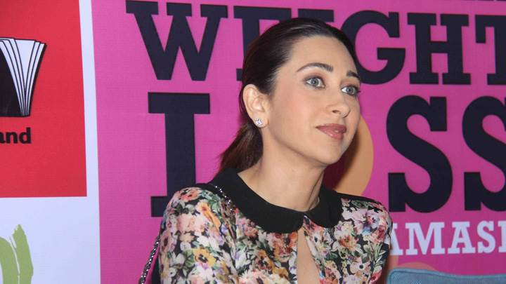 Karisma Kapoor Pink Lips In Colorful Dress At Event