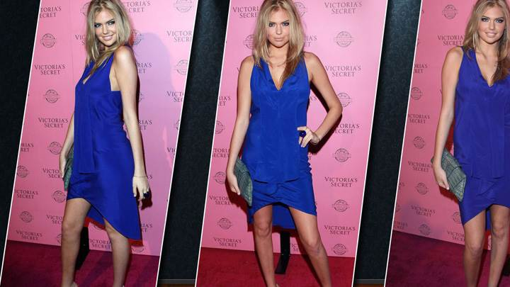Kate Upton In Blue Dress Three Different Modeling Pose Photoshoot At Event