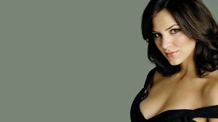 Katharine McPhee Smiling In Black Dress Side Pose Photoshoot