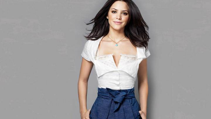 Katharine McPhee Smiling In White Top N Blue Skirt Front Pose