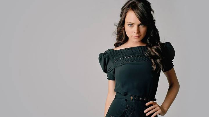 Lindsay Lohan In Black Dress Cute Modeling Pose Photoshoot