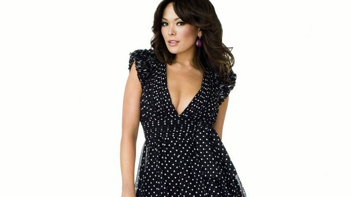 Lindsay Price In Black Dress Front Pose N White Background