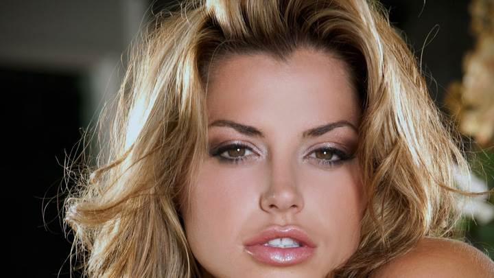 Louise Glover Glossy Lips N Golden Hairs Face Closeup