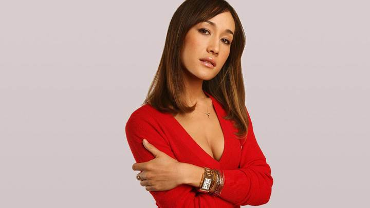 Maggie Q Wet Lips In Red Top Photoshoot