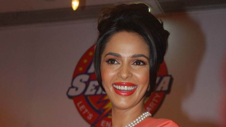 Mallika Sherawat Red Lips Cute Smiling Face Closeup
