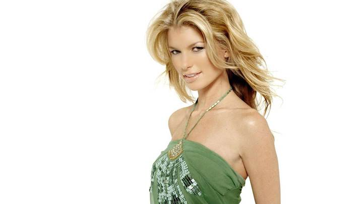 Marisa Miller In Green Dress N White Background Side Pose Photoshoot