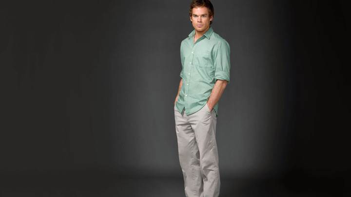 Michael C. Hall In Green Shirt Side Pose Photoshoot