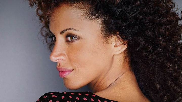 Noemie Lenoir Pink Lips Looking Back Side Face Closeup