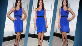 Odette Annable In Blue Dress Three Different Modeling Pose Photoshoot At Event