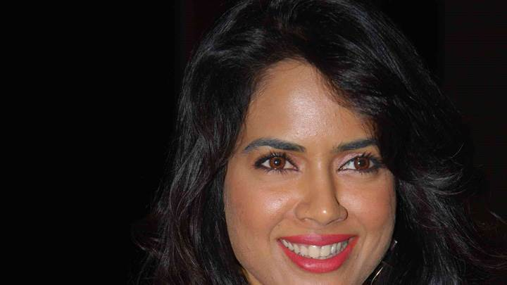 Sameera Reddy Looking Front Red Lips Face Closeup N Black Background