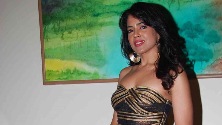 Sameera Reddy Red Lips In Black N Golden Dress Photoshoot