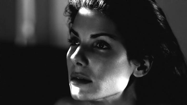Sandra Bullock Black And White Innocent Side Face Closeup