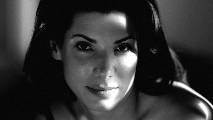 Sandra Bullock Black And White Smiling Front Face Closeup