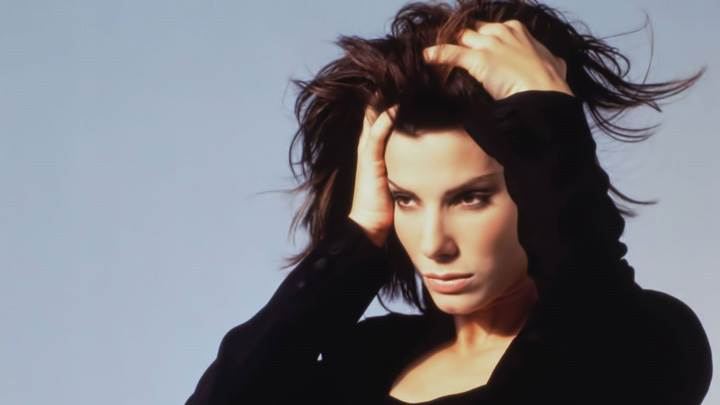 Sandra Bullock In Black Dress Looking In Stress Photoshoot