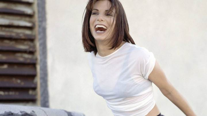 Sandra Bullock Laughing In White Top Photoshoot