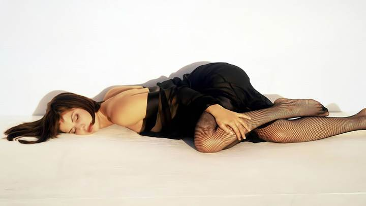 Sandra Bullock Laying Pose In Black Dress N Black Stockings N White Background