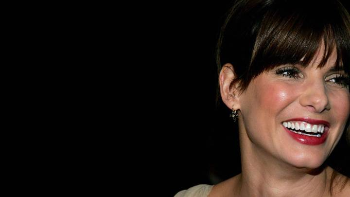 Sandra Bullock Red Lips Laughing N Black Background