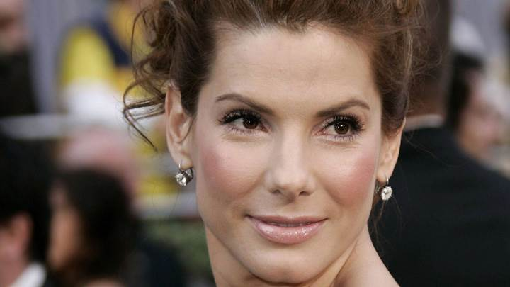 Sandra Bullock Smiling Glossy Wet Lips Looking Back Face Closeup