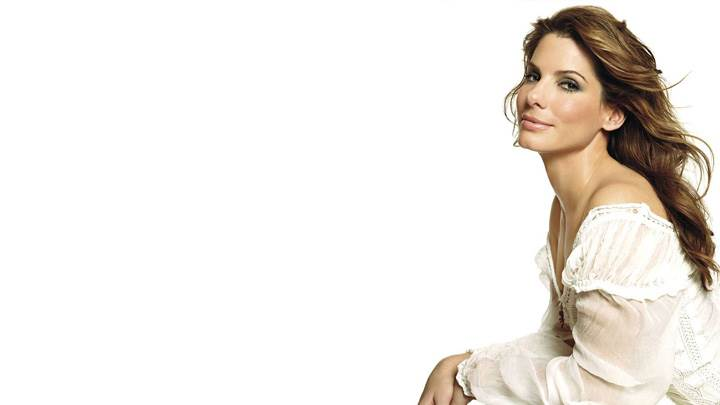 Sandra Bullock Smiling In White Dress N White Background Side Pose