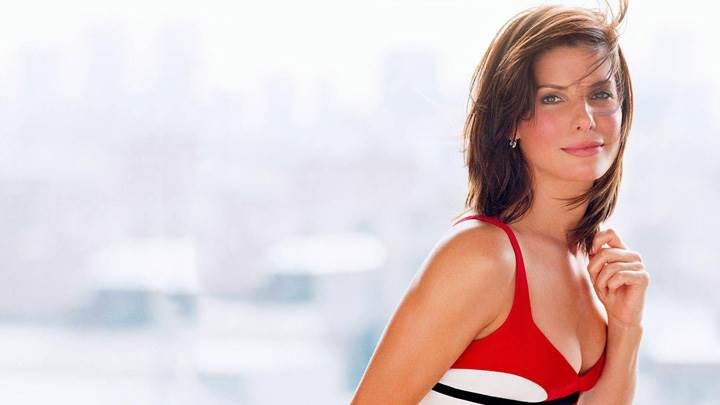 Sandra Bullock Smiling Pink Lips In Red Dress Side Pose Photoshoot