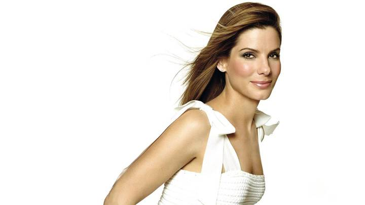 Sandra Bullock Smiling in White Dress N White Background Photoshoot