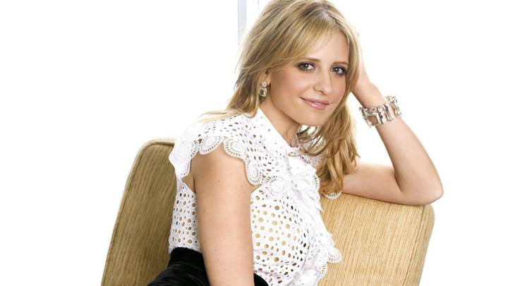 Sarah Michelle Gellar Smiling Sitting Pose In White Transparent Top