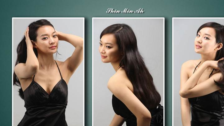 Shin Min Ah Three Different Poses In Black Dress