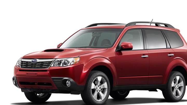 2009 Subaru Forester 25 XT In Red Front Side Pose N White Background