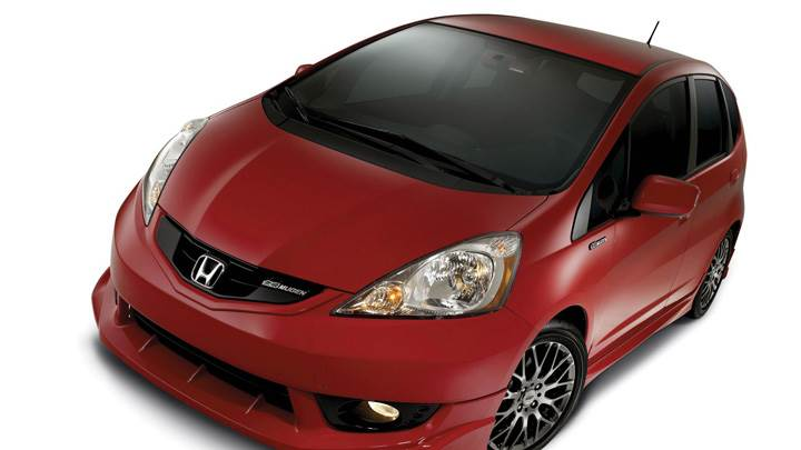 2010 Honda Fit Sport Mugen Top View In Red N White Background