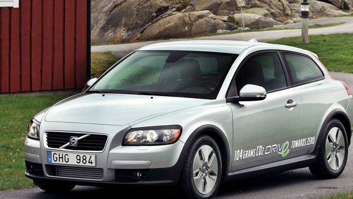 2010 Volvo C30 In Silver Standing on Road